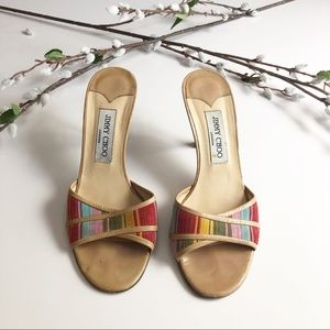 Jimmy Choo Multicolor Stripes Leather Sandals 37